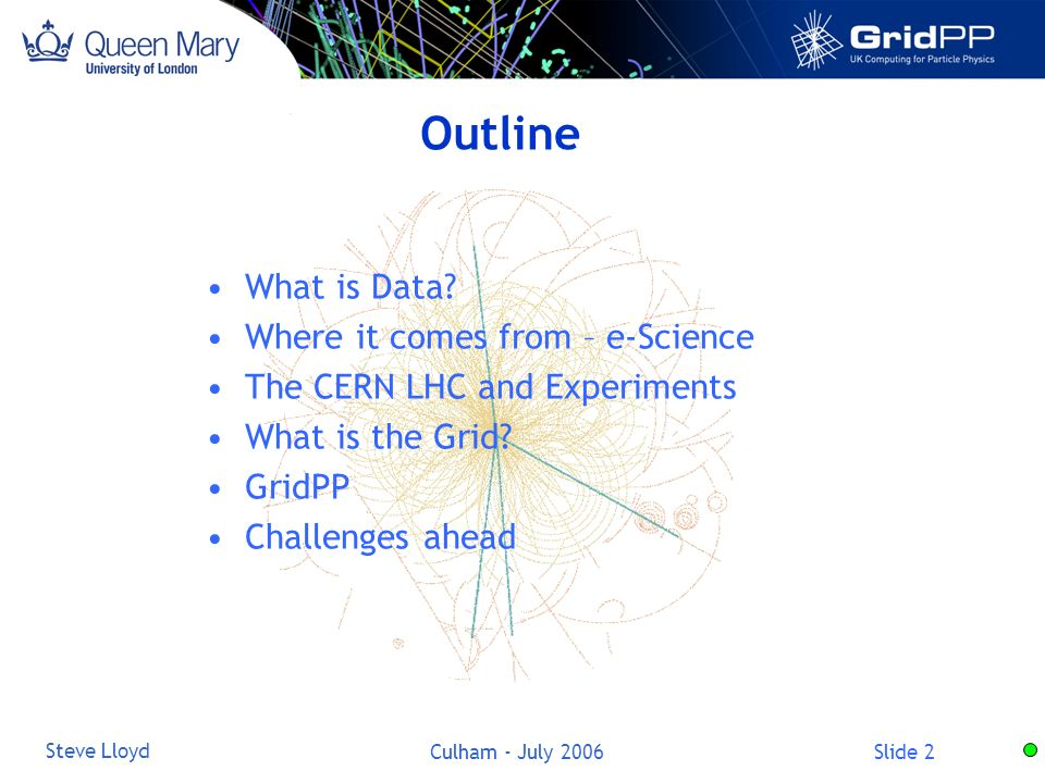 Slide 33 Steve Lloyd Culham - July 2006 Tier Structure Tier 0 Tier 1 National centres Tier 2 Regional groups Institutes Workstations Offline farm Online system CERN computer centre RAL,UK ScotGridNorthGridSouthGridLondon FranceItalyGermanyUSA GlasgowEdinburghDurham Useful model for Particle Physics but not necessary for others