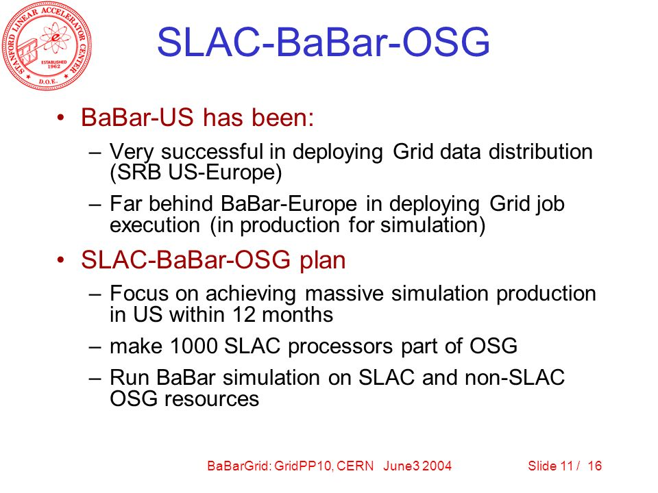 BaBarGrid: GridPP10, CERN June3 2004Slide 11 / 16 SLAC-BaBar-OSG BaBar-US has been: –Very successful in deploying Grid data distribution (SRB US-Europe) –Far behind BaBar-Europe in deploying Grid job execution (in production for simulation) SLAC-BaBar-OSG plan –Focus on achieving massive simulation production in US within 12 months –make 1000 SLAC processors part of OSG –Run BaBar simulation on SLAC and non-SLAC OSG resources