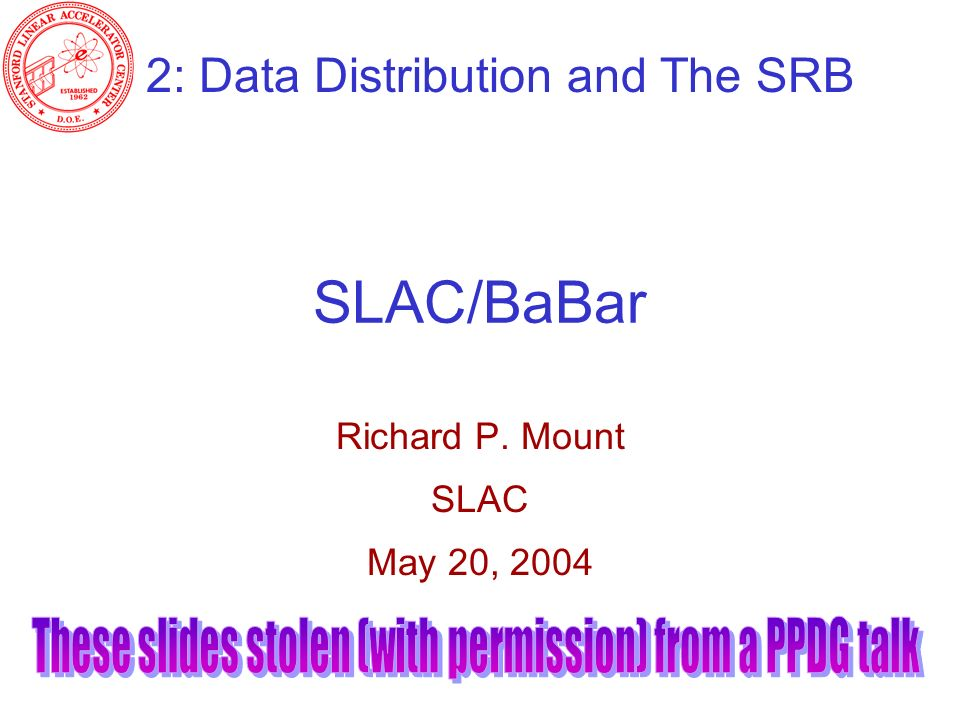 SLAC/BaBar Richard P. Mount SLAC May 20, 2004 2: Data Distribution and The SRB