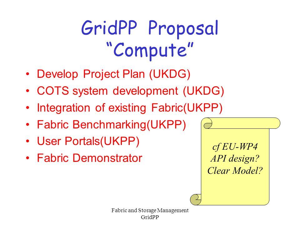 Fabric and Storage Management GridPP GridPP Proposal Mass Storage Evaluation and API design(EU) Prototype(EU) Refinement of API(UKDG) Definition of Metadata(UKDG) Metadata(UKDG)