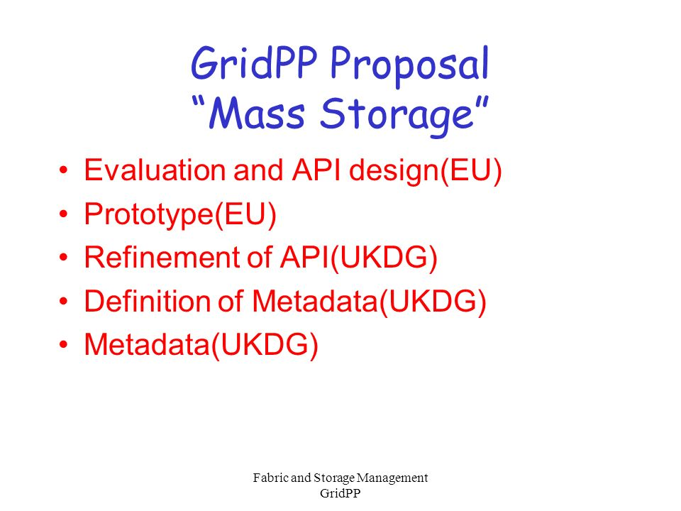 Fabric and Storage Management GridPP DataGrid Information –Architecture Definition Documents –WP Milestones Month 9 Deliverables Note GridPP: ATF.