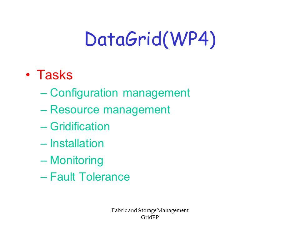 Fabric and Storage Management GridPP DataGrid(WP5) Originally –Mass Storage part of local fabric E.g.
