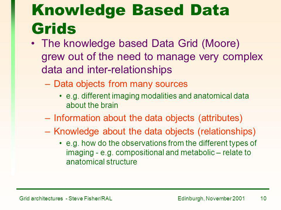 Edinburgh, November 2001Grid architectures - Steve Fisher/RAL10 Knowledge Based Data Grids The knowledge based Data Grid (Moore) grew out of the need