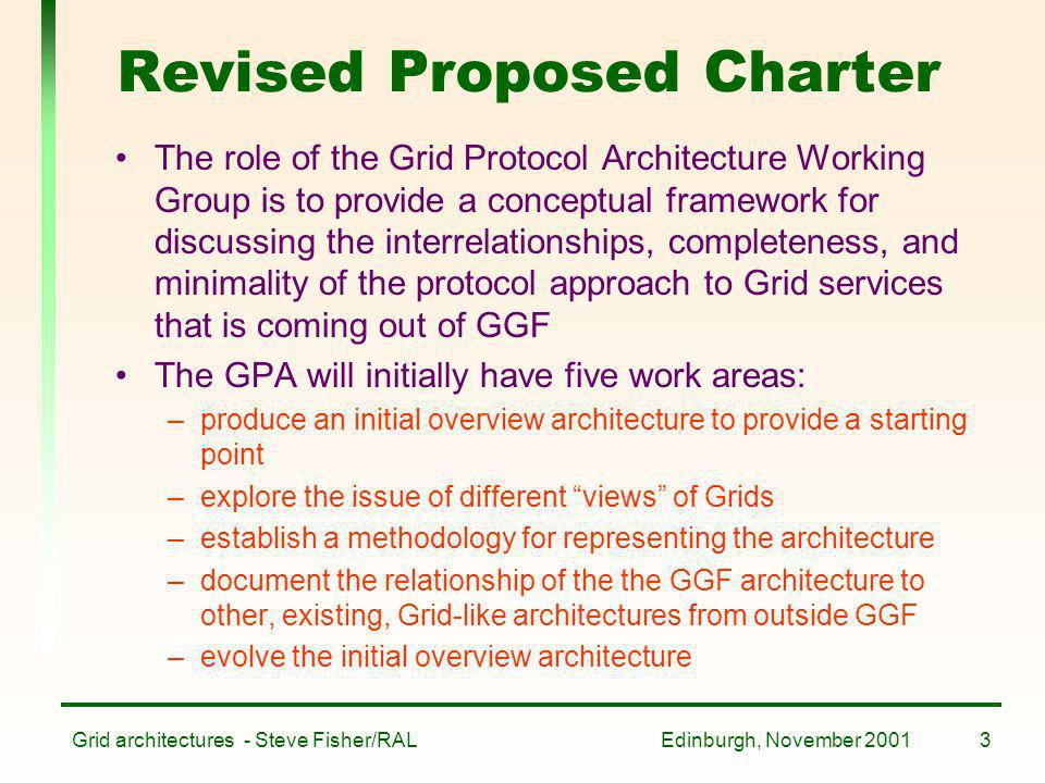 Edinburgh, November 2001Grid architectures - Steve Fisher/RAL3 Revised Proposed Charter The role of the Grid Protocol Architecture Working Group is to