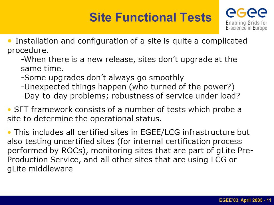 EGEE03, April 2005 - 11 Site Functional Tests Installation and configuration of a site is quite a complicated procedure. -When there is a new release,