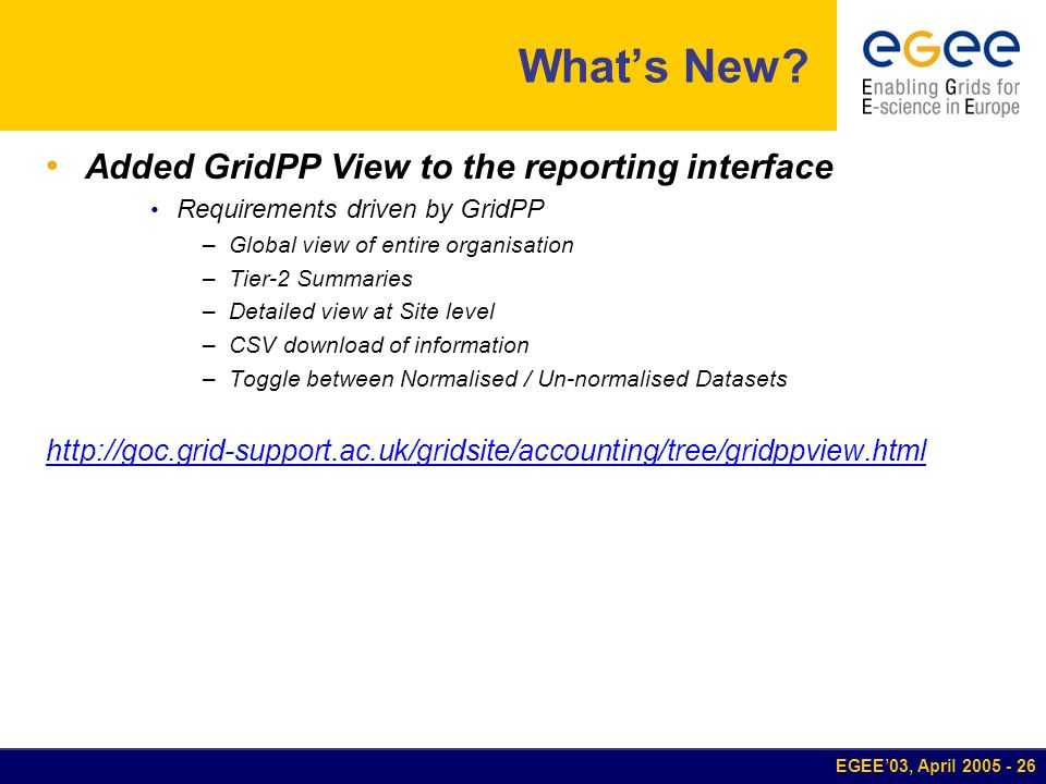 EGEE03, April 2005 - 26 Whats New? Added GridPP View to the reporting interface Requirements driven by GridPP –Global view of entire organisation –Tie
