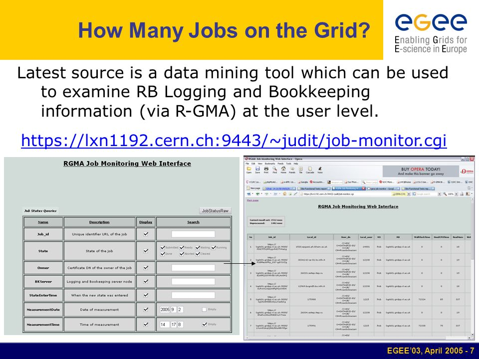 EGEE03, April 2005 - 7 How Many Jobs on the Grid? Latest source is a data mining tool which can be used to examine RB Logging and Bookkeeping informat