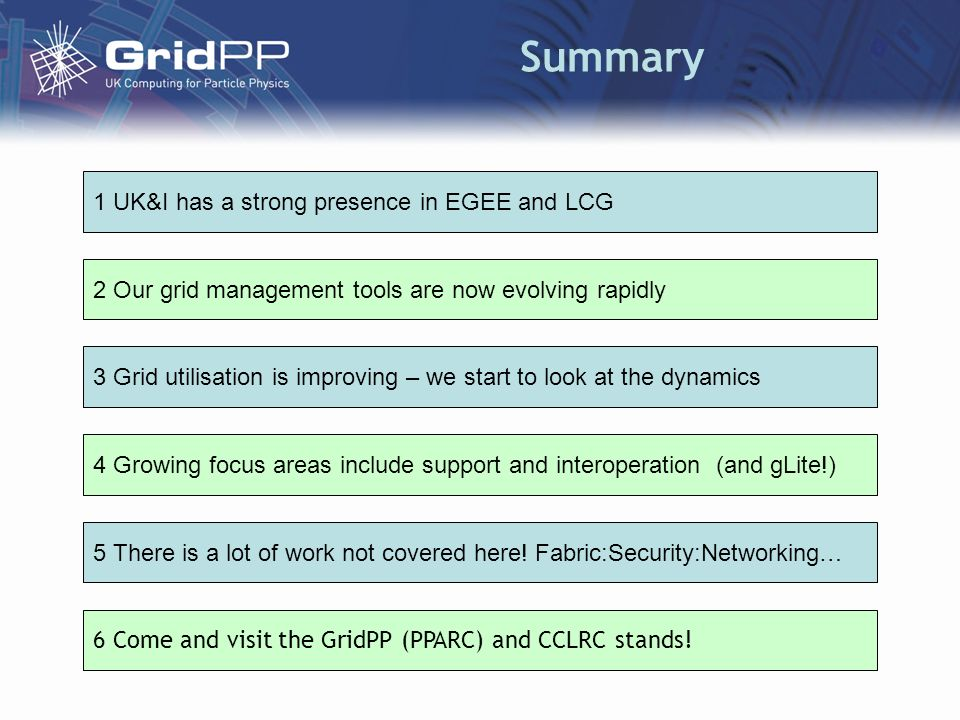 Summary 2 Our grid management tools are now evolving rapidly 3 Grid utilisation is improving – we start to look at the dynamics 4 Growing focus areas include support and interoperation (and gLite!) 6 Come and visit the GridPP (PPARC) and CCLRC stands.