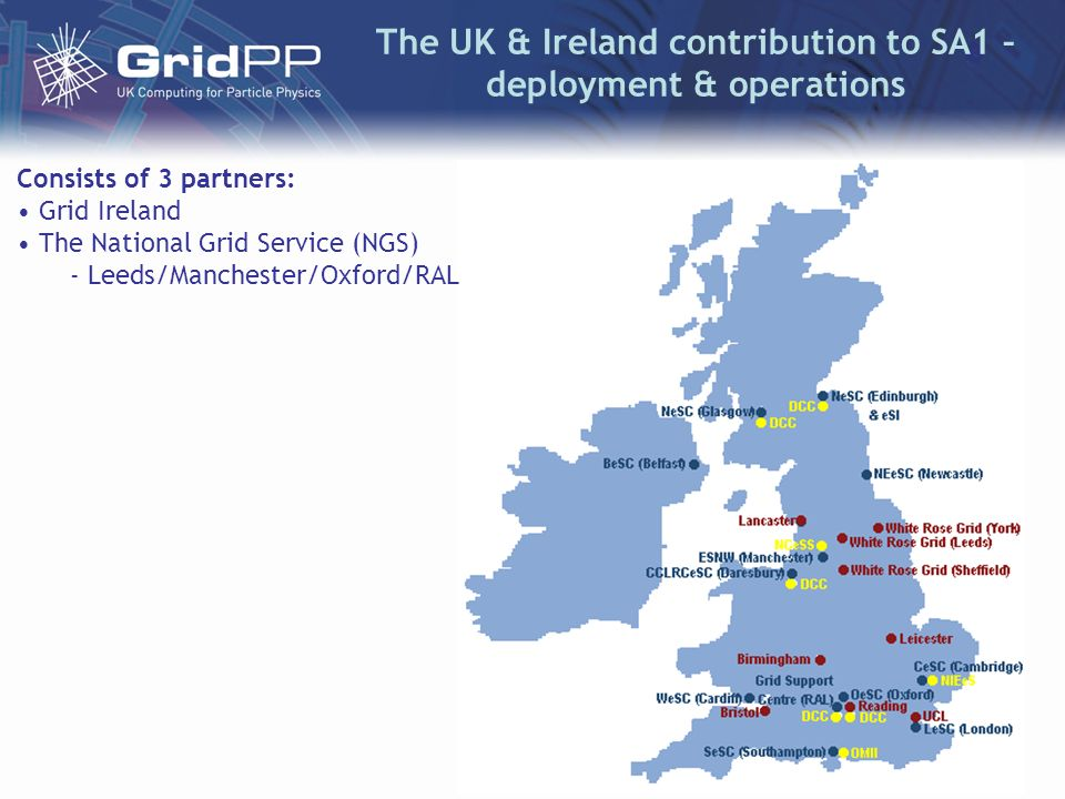 The UK & Ireland contribution to SA1 – deployment & operations Consists of 3 partners: Grid Ireland The National Grid Service (NGS) - Leeds/Manchester/Oxford/RAL