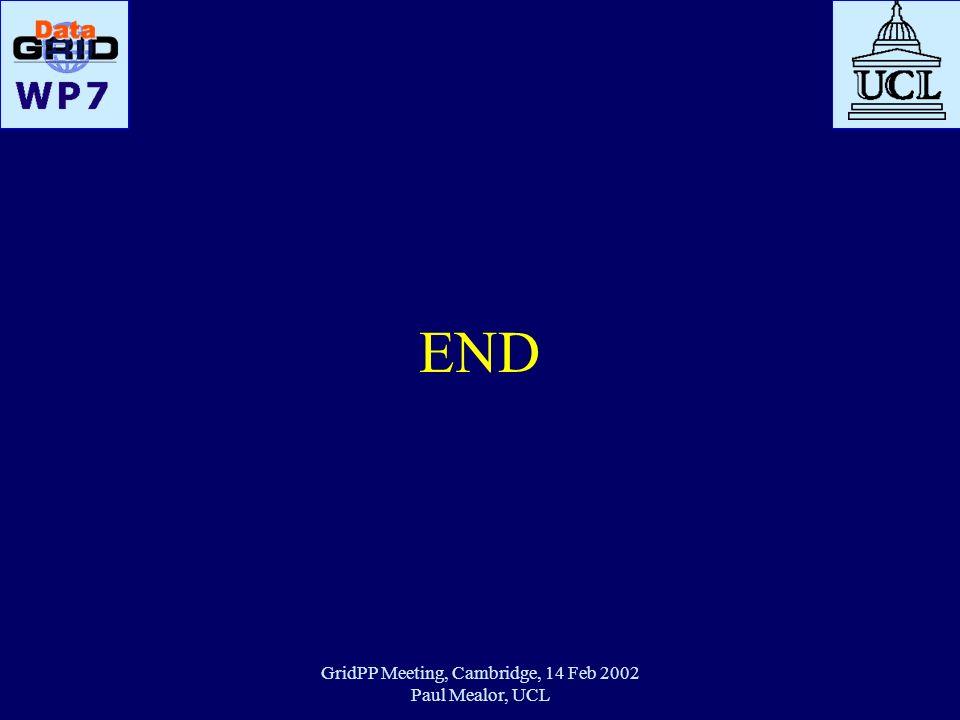 GridPP Meeting, Cambridge, 14 Feb 2002 Paul Mealor, UCL END