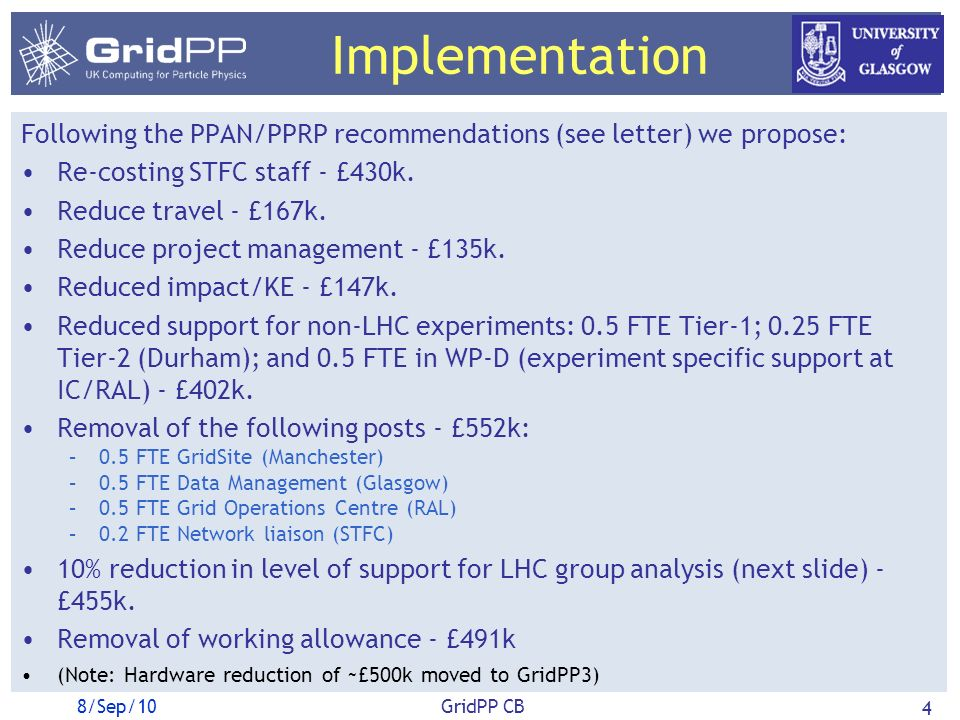 Implementation Following the PPAN/PPRP recommendations (see letter) we propose: Re-costing STFC staff - £430k.