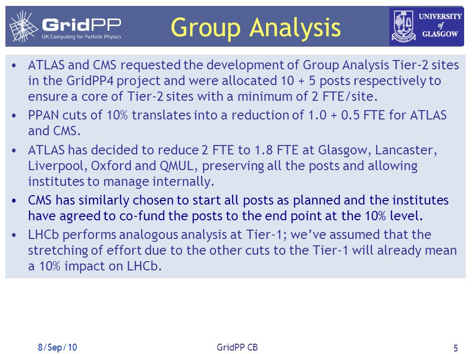 Group Analysis ATLAS and CMS requested the development of Group Analysis Tier-2 sites in the GridPP4 project and were allocated 10 + 5 posts respectively to ensure a core of Tier-2 sites with a minimum of 2 FTE/site.