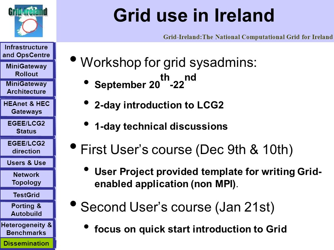 Grid-Ireland:The National Computational Grid for Ireland Grid use in Ireland Infrastructure and OpsCentre EGEE/LCG2 direction MiniGateway Rollout MiniGateway Architecture HEAnet & HEC Gateways EGEE/LCG2 Status Dissemination Network Topology Users & UseTestGrid Porting & Autobuild Heterogeneity & Benchmarks Dissemination Workshop for grid sysadmins: September 20 th -22 nd 2-day introduction to LCG2 1-day technical discussions First Users course (Dec 9th & 10th) User Project provided template for writing Grid- enabled application (non MPI).