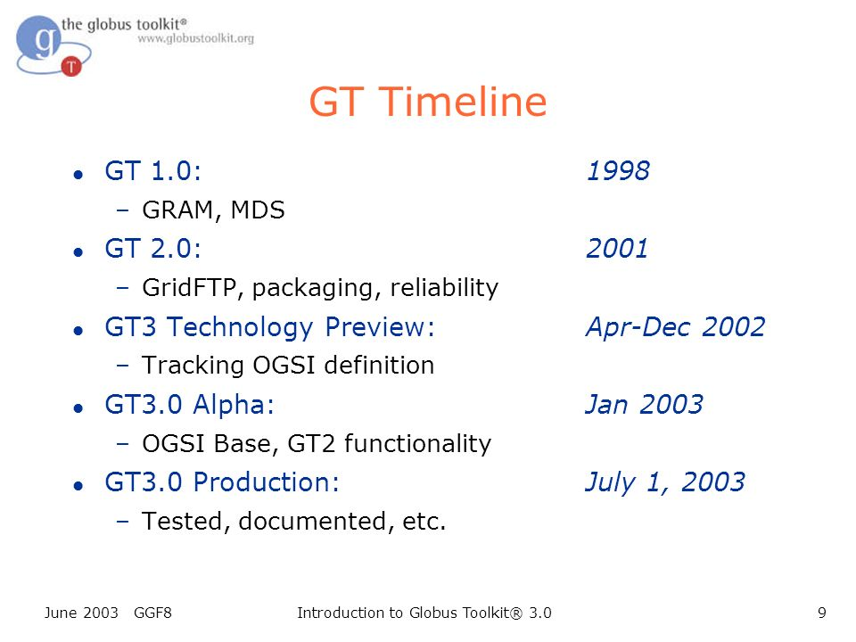 June 2003 GGF8Introduction to Globus Toolkit® 3.09 GT Timeline l GT 1.0:1998 –GRAM, MDS l GT 2.0:2001 –GridFTP, packaging, reliability l GT3 Technology Preview:Apr-Dec 2002 –Tracking OGSI definition l GT3.0 Alpha:Jan 2003 –OGSI Base, GT2 functionality l GT3.0 Production:July 1, 2003 –Tested, documented, etc.