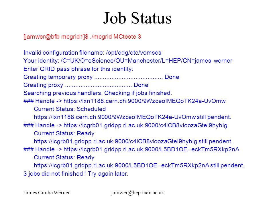 James Cunha Wernerjamwer@hep.man.ac.uk Job Status [jamwer@bfb mcgrid1]$./mcgrid MCteste 3 Invalid configuration filename: /opt/edg/etc/vomses Your ide