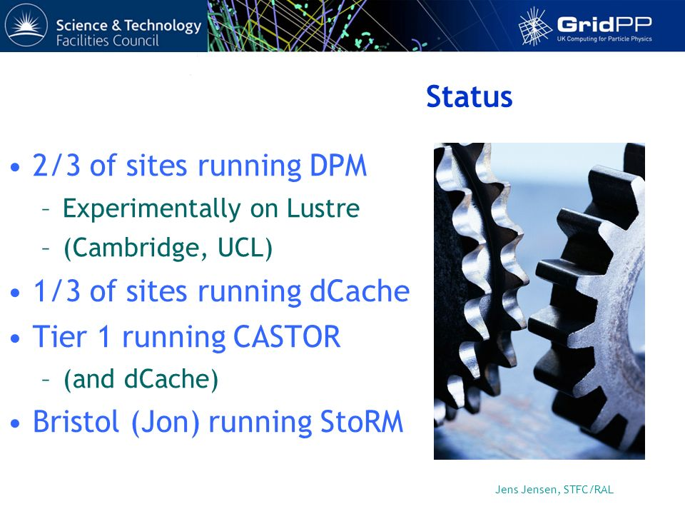 Jens Jensen, STFC/RAL Status 2/3 of sites running DPM –Experimentally on Lustre –(Cambridge, UCL) 1/3 of sites running dCache Tier 1 running CASTOR –(