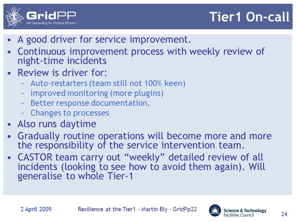 2 April 2009Resilience at the Tier1 - Martin Bly - GridPp22 24 Tier1 On-call A good driver for service improvement.