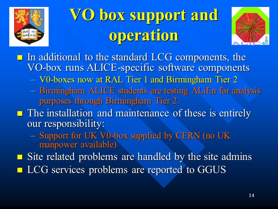 14 VO box support and operation In additional to the standard LCG components, the VO-box runs ALICE-specific software components In additional to the standard LCG components, the VO-box runs ALICE-specific software components –V0-boxes now at RAL Tier 1 and Birmingham Tier 2 –Birmingham ALICE students are testing ALiEn for analysis purposes through Birmingham Tier 2.