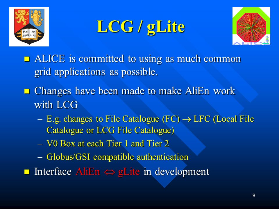 9 LCG / gLite ALICE is committed to using as much common grid applications as possible.