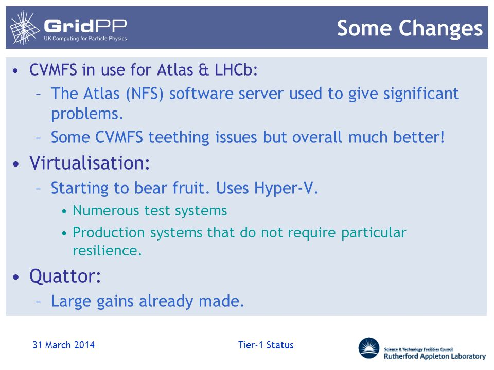 Some Changes CVMFS in use for Atlas & LHCb: –The Atlas (NFS) software server used to give significant problems. –Some CVMFS teething issues but overal
