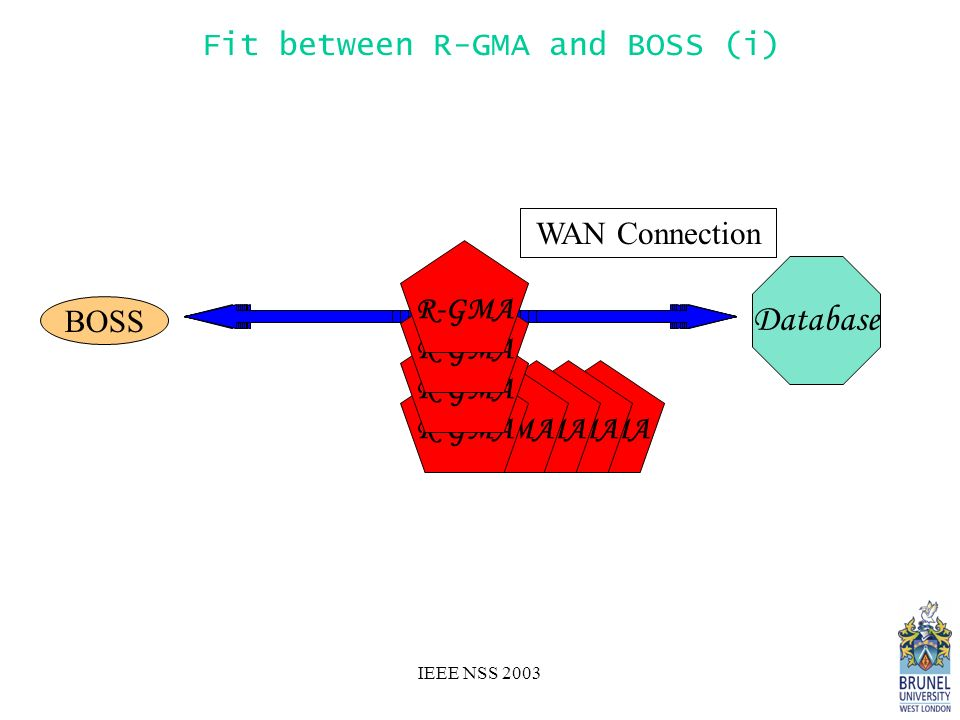 IEEE NSS 2003 Database BOSS LAN Connection R-GMA WAN Connection Fit between R-GMA and BOSS (i)
