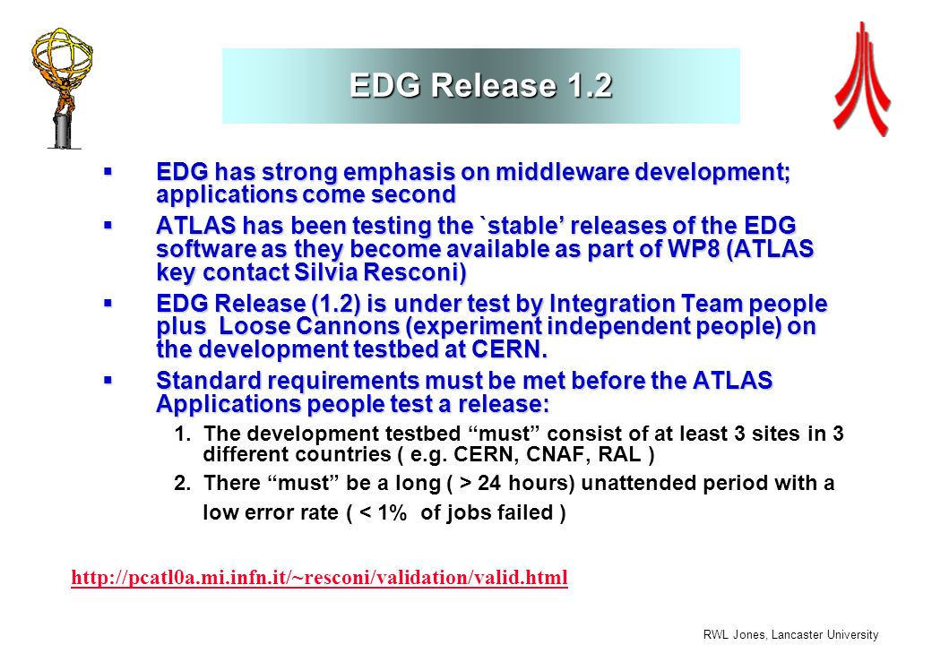 RWL Jones, Lancaster University EDG Release 1.2 EDG has strong emphasis on middleware development; applications come second EDG has strong emphasis on middleware development; applications come second ATLAS has been testing the `stable releases of the EDG software as they become available as part of WP8 (ATLAS key contact Silvia Resconi) ATLAS has been testing the `stable releases of the EDG software as they become available as part of WP8 (ATLAS key contact Silvia Resconi) EDG Release (1.2) is under test by Integration Team people plus Loose Cannons (experiment independent people) on the development testbed at CERN.