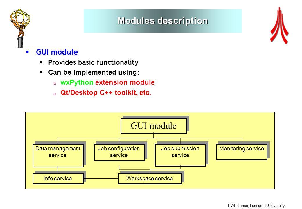 RWL Jones, Lancaster University Modules description GUI module GUI module Provides basic functionality Can be implemented using: wxPython extension module Qt/Desktop C++ toolkit, etc.