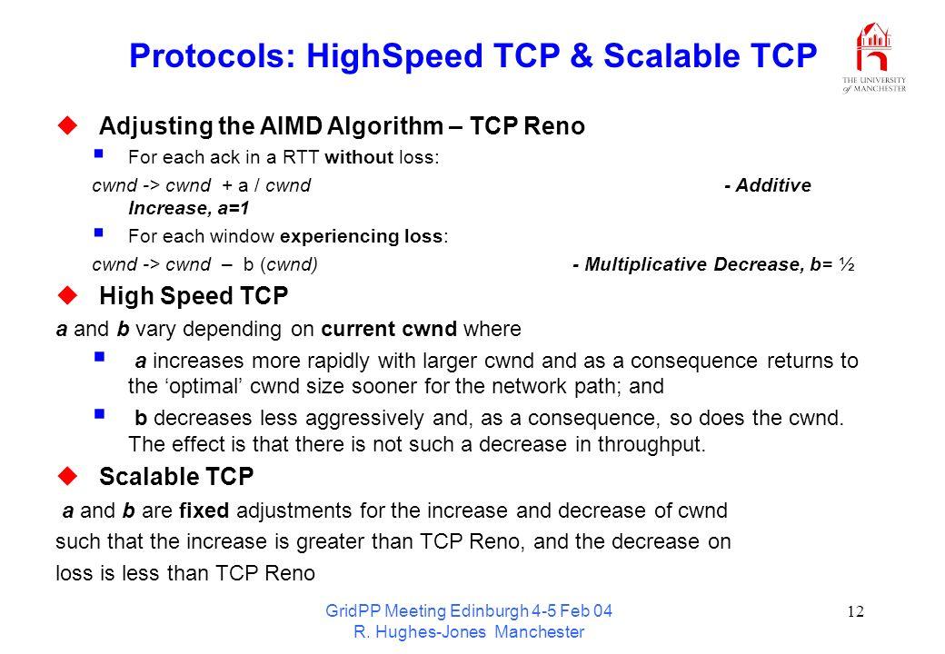 GridPP Meeting Edinburgh 4-5 Feb 04 R. Hughes-Jones Manchester 12 Protocols: HighSpeed TCP & Scalable TCP Adjusting the AIMD Algorithm – TCP Reno For