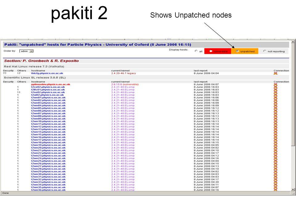 pakiti 2 Shows Unpatched nodes