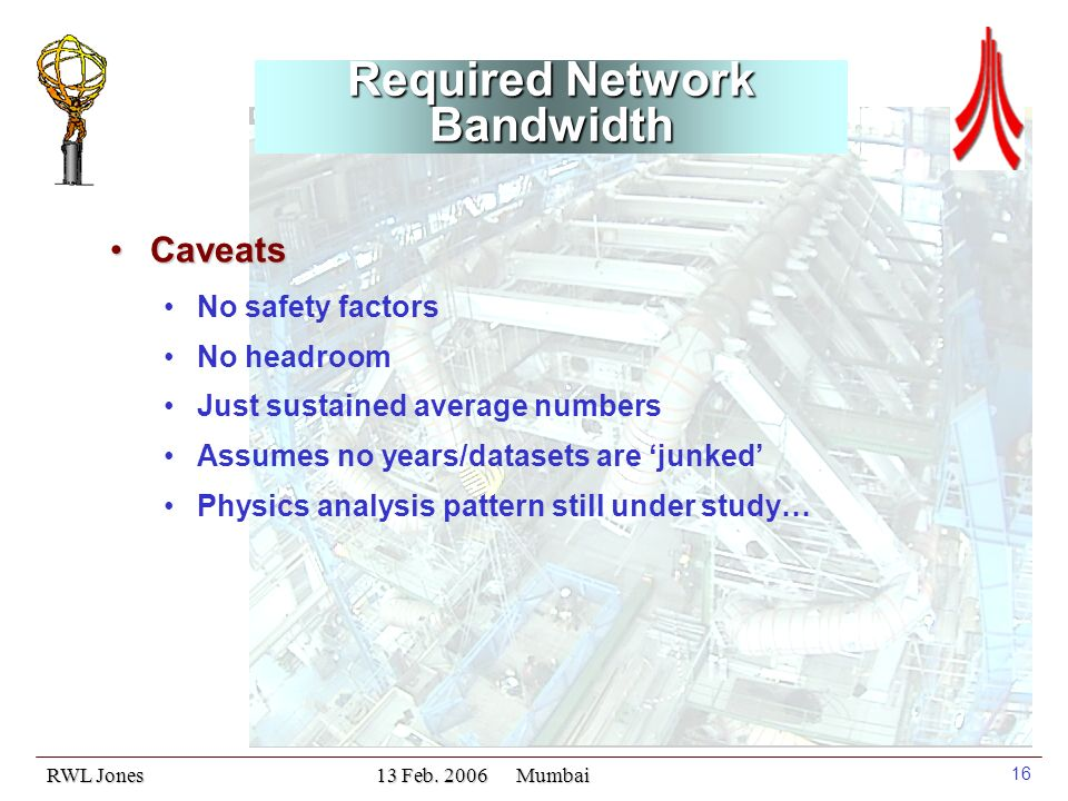 RWL Jones 13 Feb. 2006 Mumbai 16 Required Network Bandwidth CaveatsCaveats No safety factors No headroom Just sustained average numbers Assumes no yea