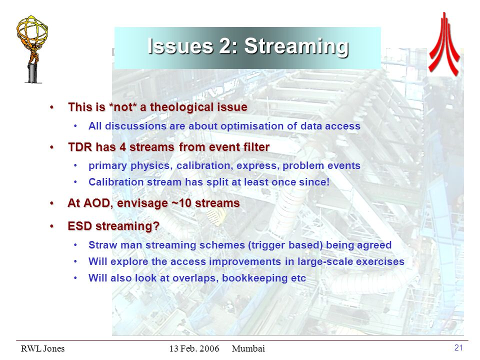 RWL Jones 13 Feb. 2006 Mumbai 21 Issues 2: Streaming This is *not* a theological issueThis is *not* a theological issue All discussions are about opti