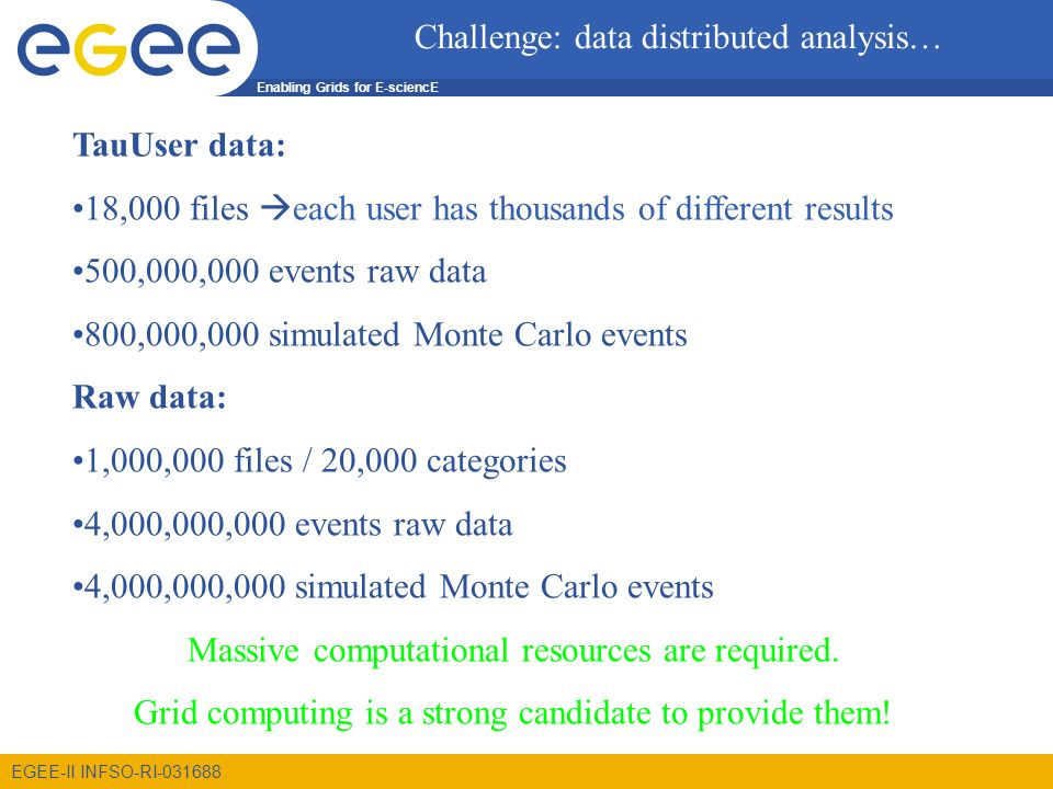 Enabling Grids for E-sciencE EGEE-II INFSO-RI TauUser data: 18,000 files each user has thousands of different results 500,000,000 events raw data 800,000,000 simulated Monte Carlo events Raw data: 1,000,000 files / 20,000 categories 4,000,000,000 events raw data 4,000,000,000 simulated Monte Carlo events Massive computational resources are required.