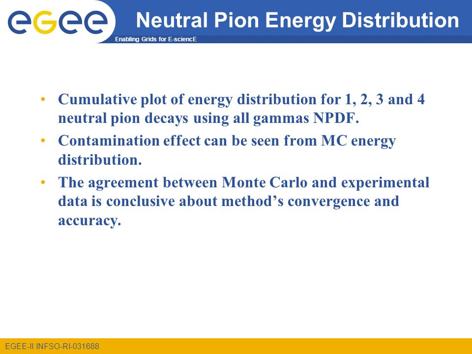 Enabling Grids for E-sciencE EGEE-II INFSO-RI Neutral Pion Energy Distribution Cumulative plot of energy distribution for 1, 2, 3 and 4 neutral pion decays using all gammas NPDF.