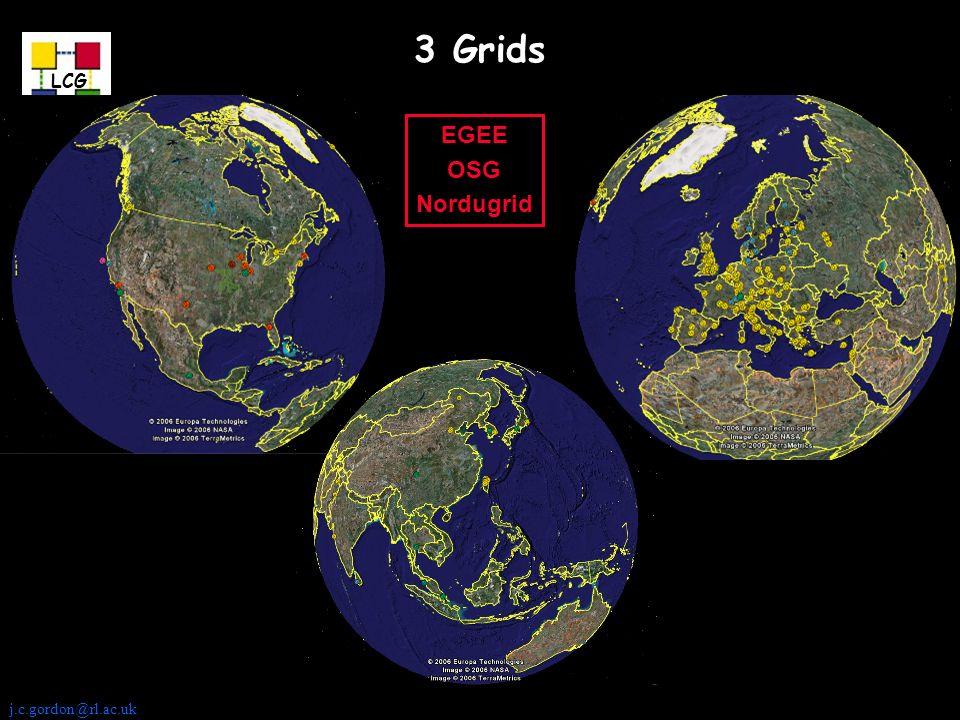 j.c.gordon@rl.ac.uk LCG 3 Grids EGEE OSG Nordugrid