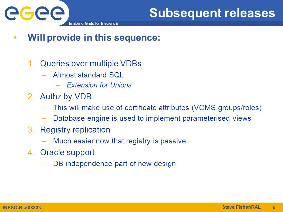 Enabling Grids for E-sciencE INFSO-RI-508833 Steve Fisher/RAL 6 Subsequent releases Will provide in this sequence: 1.Queries over multiple VDBs –Almos