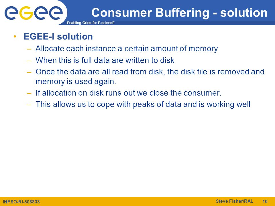 Enabling Grids for E-sciencE INFSO-RI-508833 Steve Fisher/RAL 10 Consumer Buffering - solution EGEE-I solution –Allocate each instance a certain amount of memory –When this is full data are written to disk –Once the data are all read from disk, the disk file is removed and memory is used again.