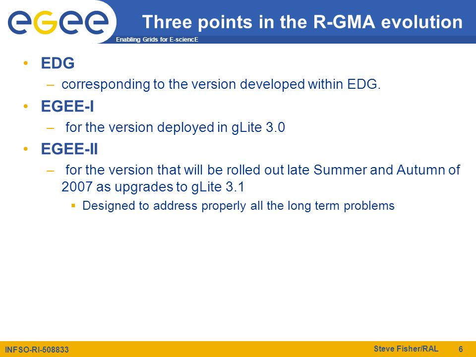 Enabling Grids for E-sciencE INFSO-RI-508833 Steve Fisher/RAL 6 Three points in the R-GMA evolution EDG –corresponding to the version developed within EDG.