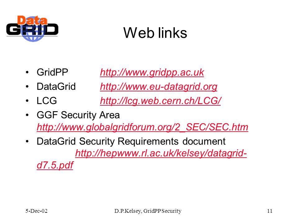 5-Dec-02D.P.Kelsey, GridPP Security11 Web links GridPPhttp://www.gridpp.ac.ukhttp://www.gridpp.ac.uk DataGridhttp://www.eu-datagrid.orghttp://www.eu-d