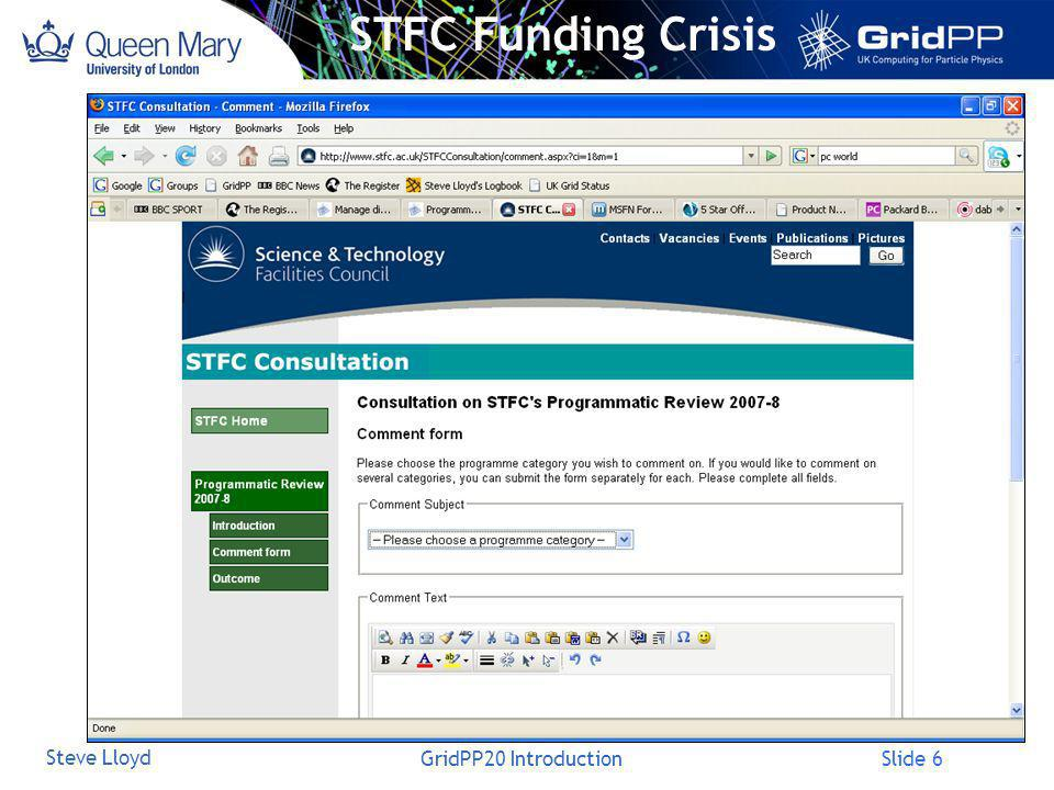 Slide 6 Steve Lloyd GridPP20 Introduction STFC Funding Crisis