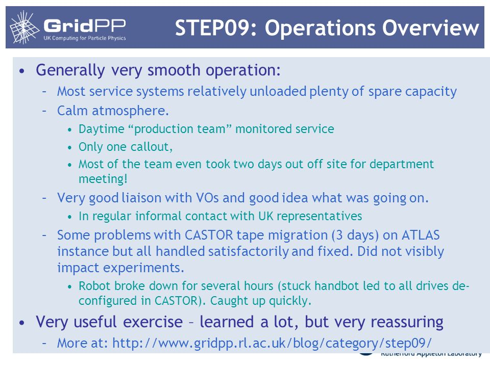STEP09: Operations Overview Generally very smooth operation: –Most service systems relatively unloaded plenty of spare capacity –Calm atmosphere.
