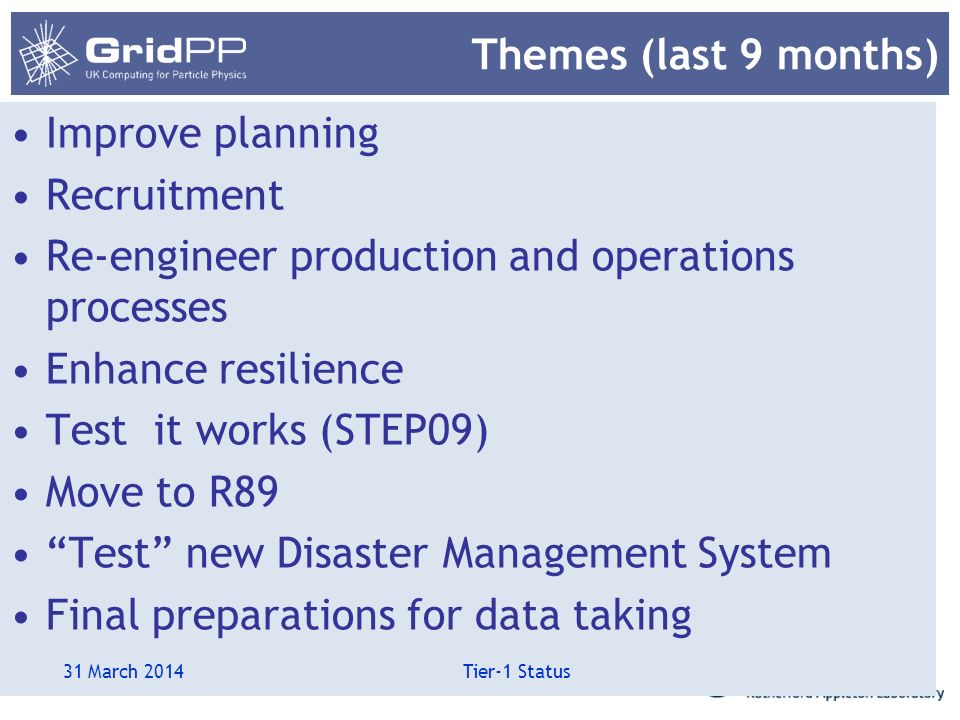 Themes (last 9 months) Improve planning Recruitment Re-engineer production and operations processes Enhance resilience Test it works (STEP09) Move to R89 Test new Disaster Management System Final preparations for data taking 31 March 2014 Tier-1 Status