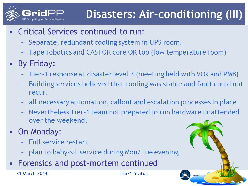 Disasters: Air-conditioning (III) Critical Services continued to run: –Separate, redundant cooling system in UPS room.