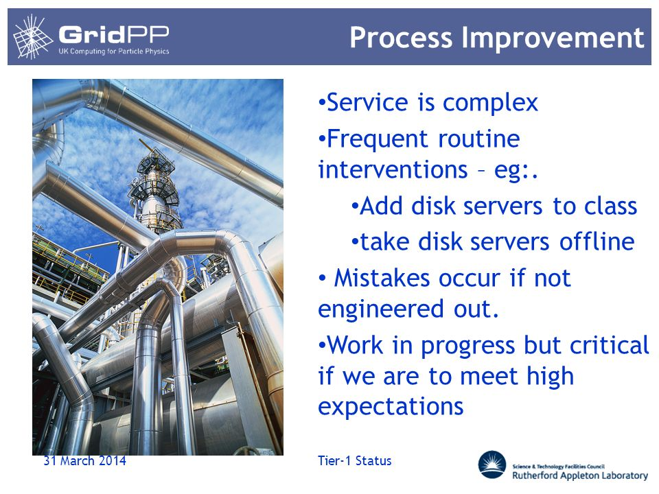 Process Improvement 31 March 2014 Tier-1 Status Service is complex Frequent routine interventions – eg:. Add disk servers to class take disk servers o