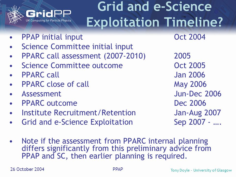 Tony Doyle - University of Glasgow 26 October 2004PPAP Grid and e-Science Exploitation Timeline? PPAP initial inputOct 2004 Science Committee initial
