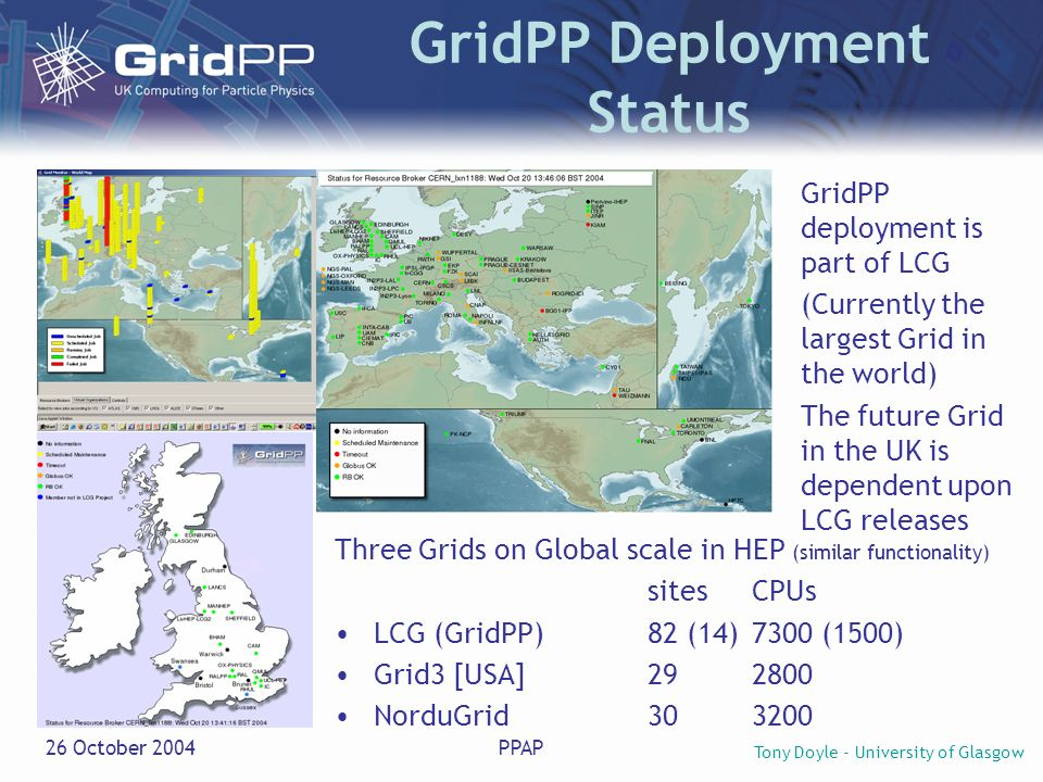 Tony Doyle - University of Glasgow 26 October 2004PPAP Issues First large- scale Grid production problems being addressed… at all levels