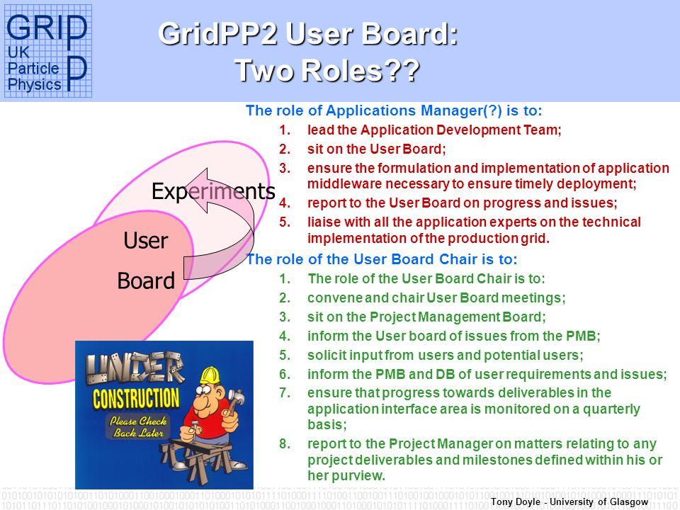 Tony Doyle - University of Glasgow GridPP2 User Board: Two Roles .