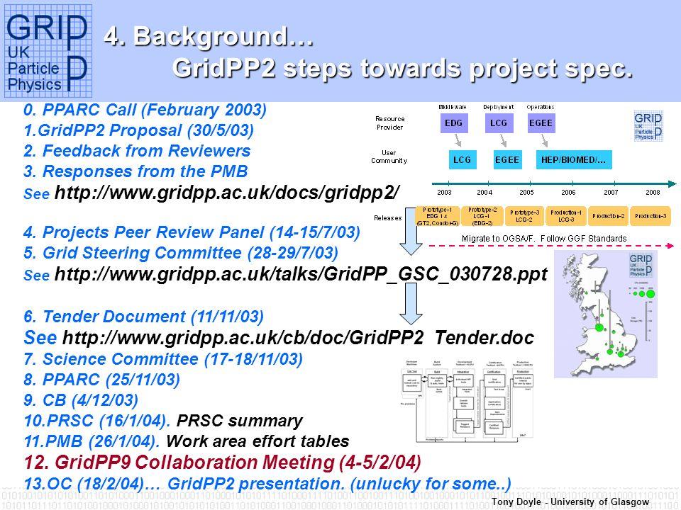 Tony Doyle - University of Glasgow 4. Background… GridPP2 steps towards project spec.