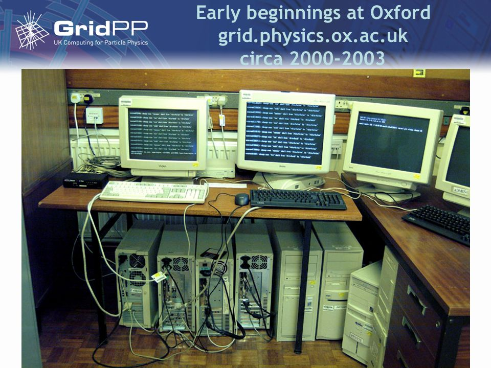 Early beginnings at Oxford grid.physics.ox.ac.uk circa 2000-2003 Following attendance at RAL 21-23 rd June 2000 course by Ian Fosters Globus team. Ini