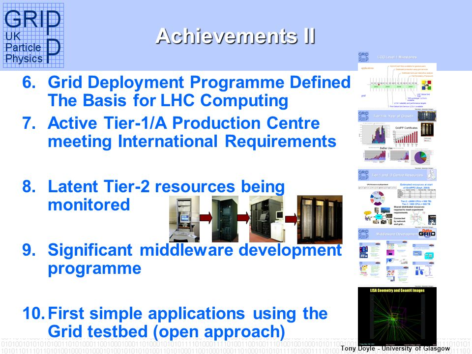 Tony Doyle - University of Glasgow Achievements II 6.Grid Deployment Programme Defined The Basis for LHC Computing 7.Active Tier-1/A Production Centre