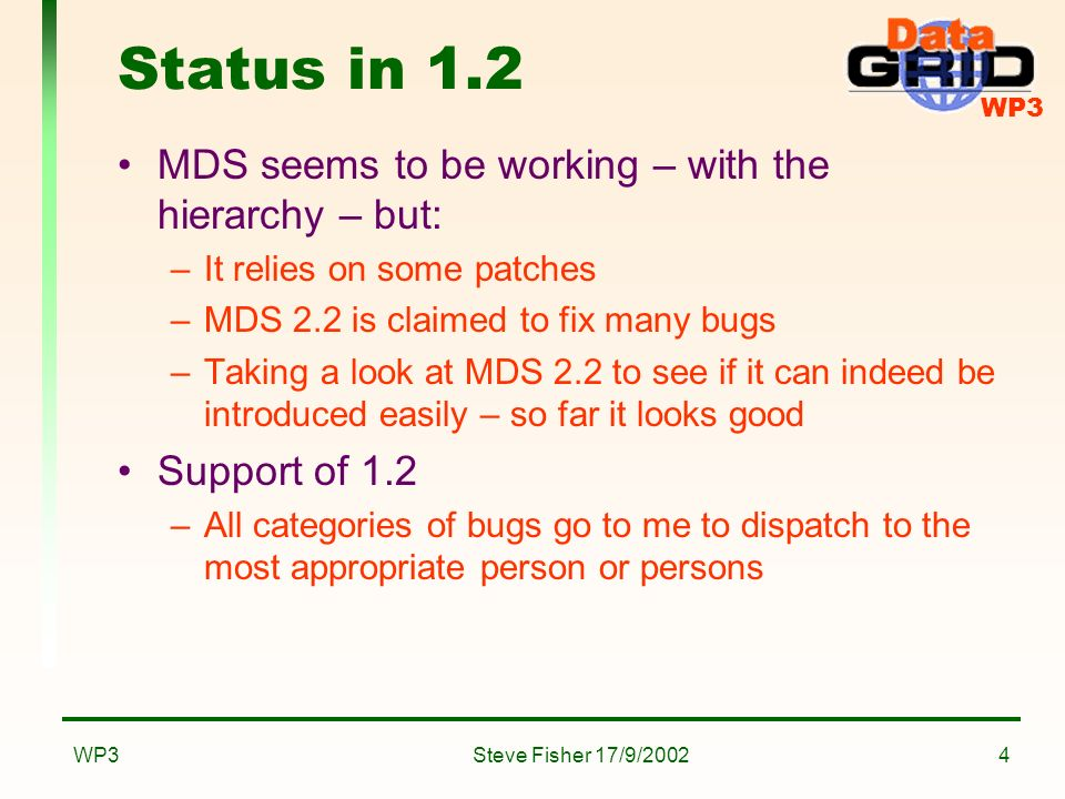 WP3 Steve Fisher 17/9/2002WP34 Status in 1.2 MDS seems to be working – with the hierarchy – but: –It relies on some patches –MDS 2.2 is claimed to fix many bugs –Taking a look at MDS 2.2 to see if it can indeed be introduced easily – so far it looks good Support of 1.2 –All categories of bugs go to me to dispatch to the most appropriate person or persons